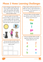Phonics Phase 2 Home Learning Challenges