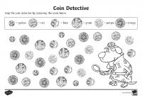 coin detectives activity sheet