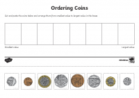 coin ordering cut and paste activity sheet