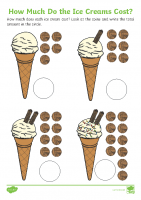 how much do the ice creams cost activity sheets