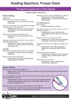 Parents Reading Questions Prompt Sheet